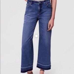 LOFT cropped denim raw hem jeans high waisted